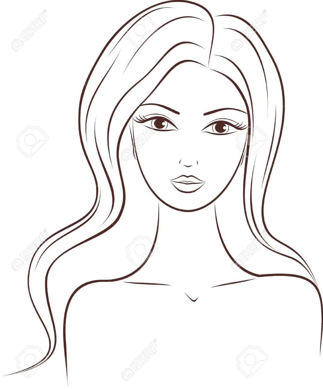 illustration of a woman with long hair.