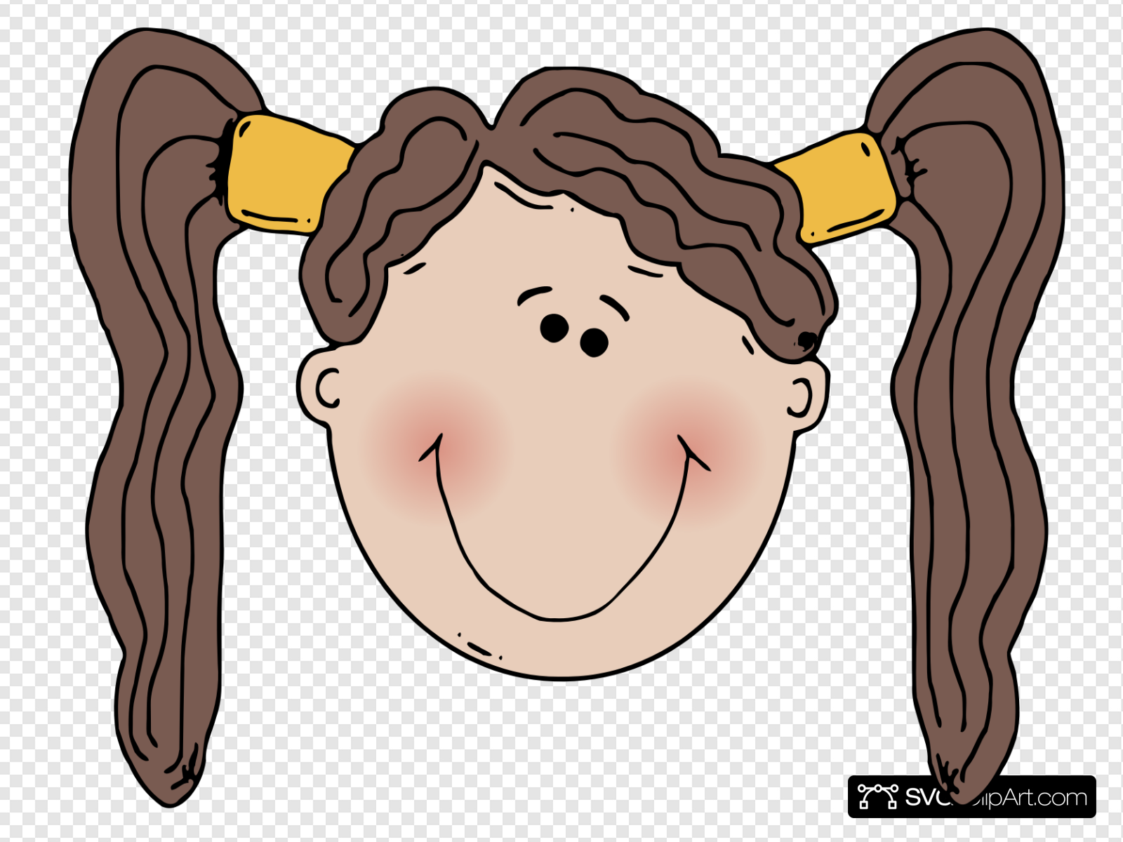 Blushing Girl In Pigtails Clip art, Icon and SVG.
