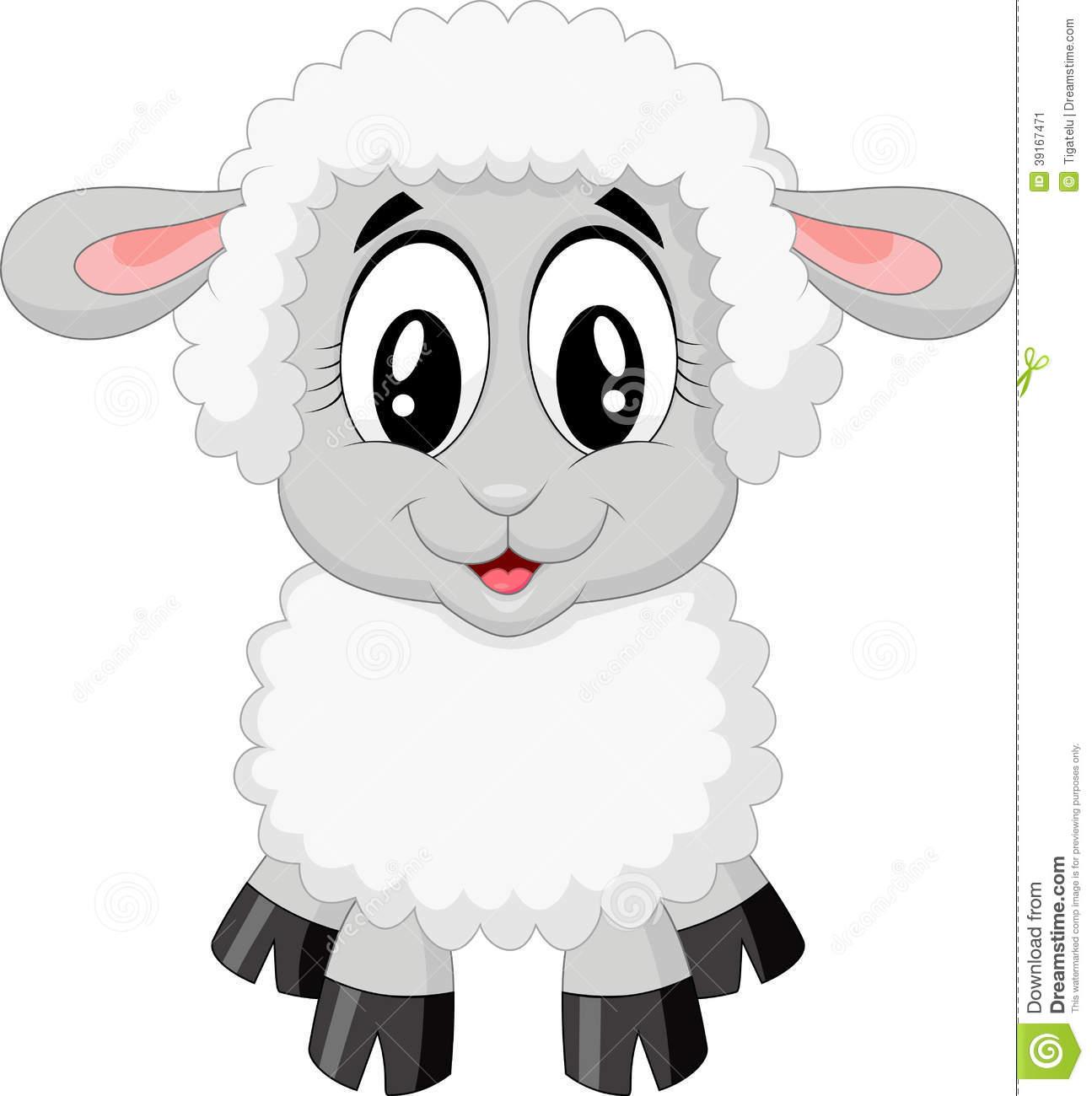Cute Sheep Cartoon Stock Vector.