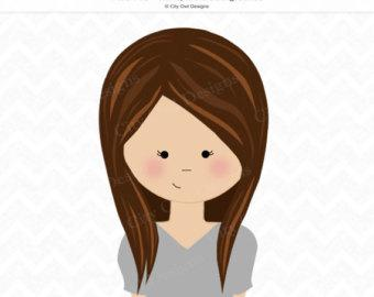 Clipart Girl With Long Black Hair And Blue Eyes.