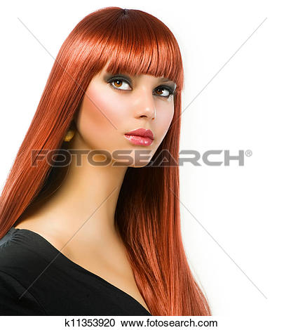 Stock Photography of Beautiful Girl with Healthy Long Straight.