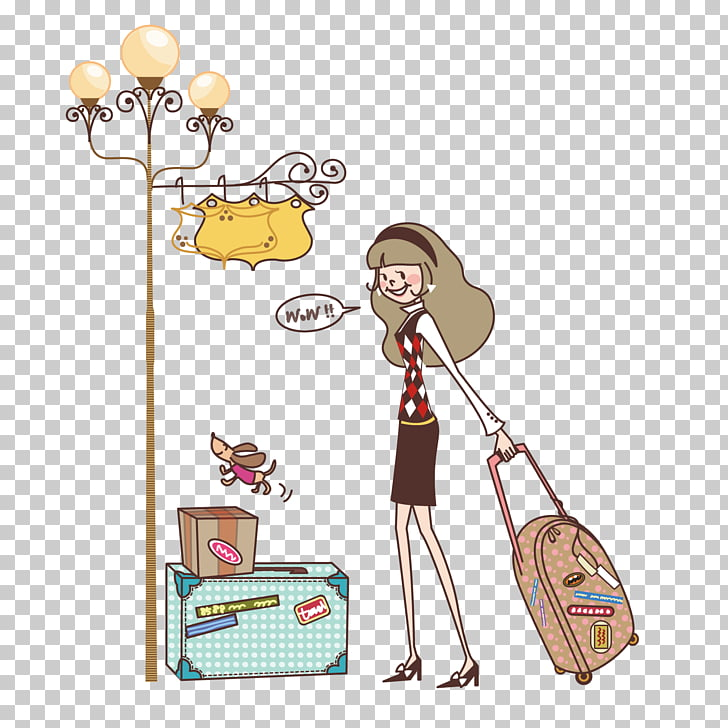 Suitcase Baggage Box Travel, Travel girl PNG clipart.