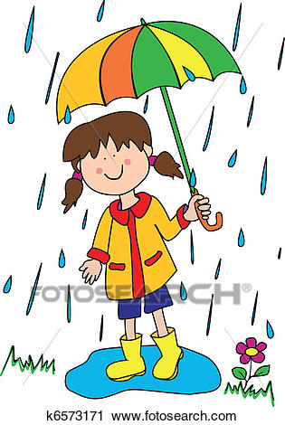 Little girl with umbrella Clipart.