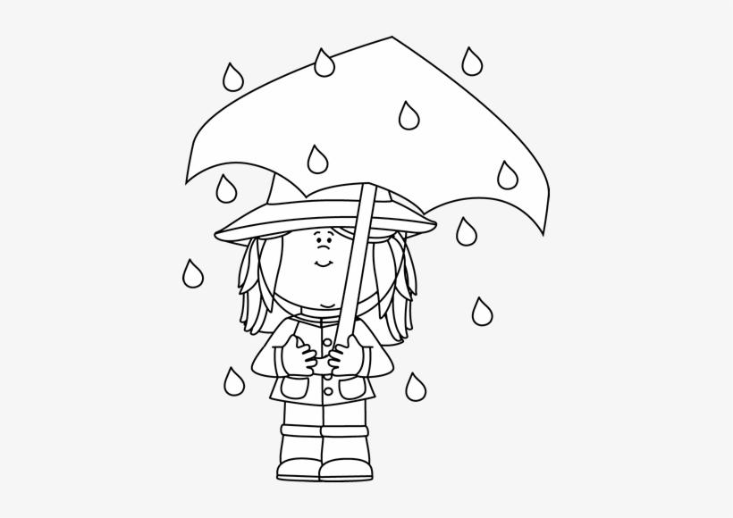 Black And White Girl Standing In The Rain Clip Art.