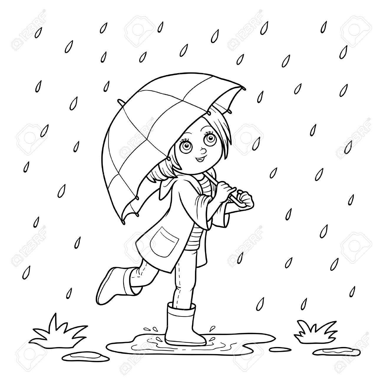 clipart black and white girl with umbrella.