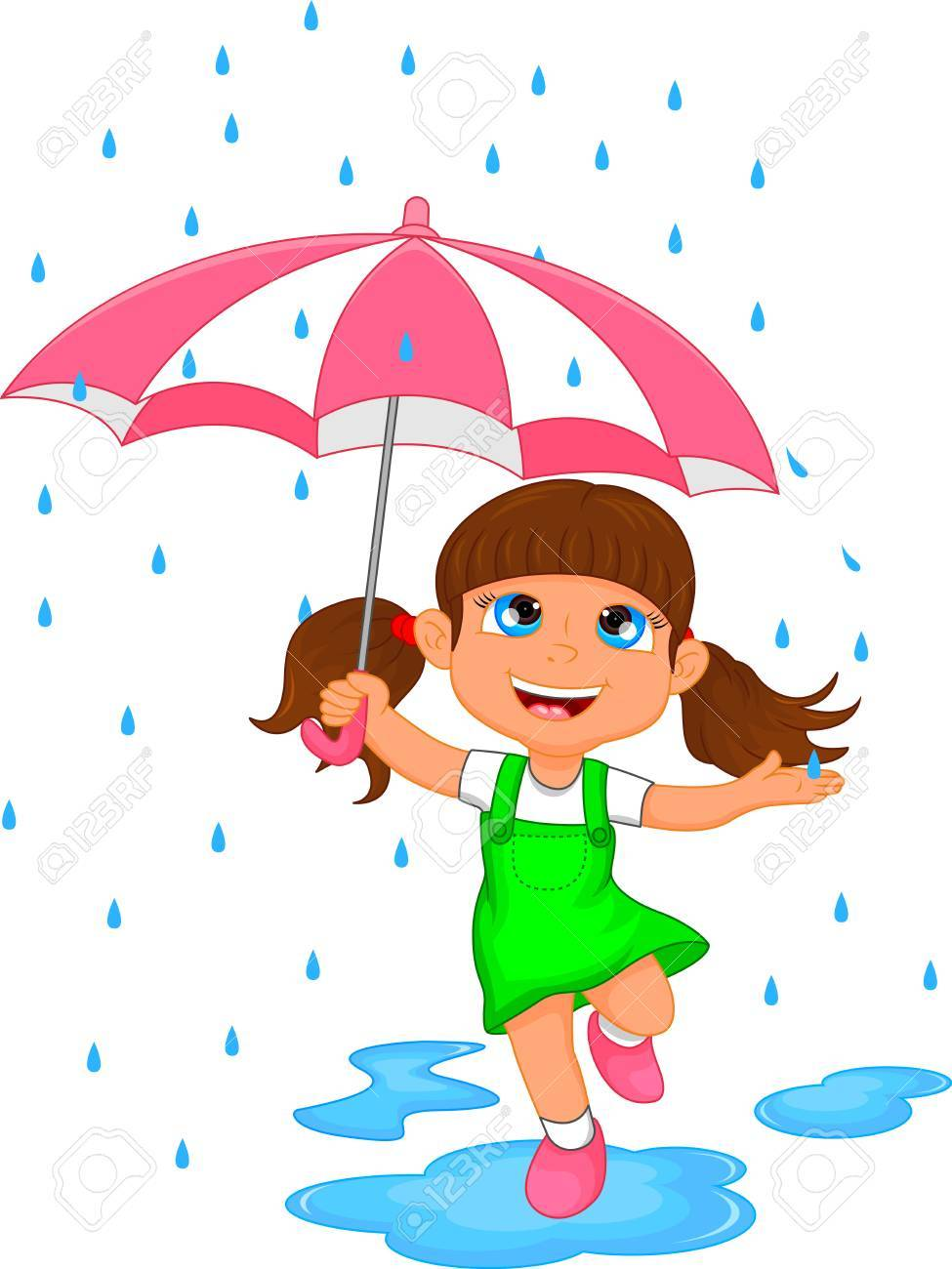 happy girl in rain with umbrella.