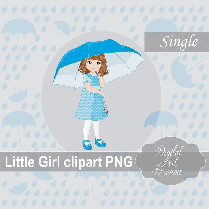 Rain Clipart, Little Girl Under Umbrella, Cute Character Graphics,  Illustration, Party Printables, Scrapbooking, Card Making, Fall Image png.