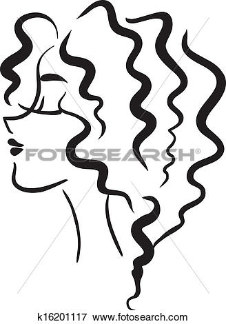 Clip Art of Profile girl with wavy hair k16201117.