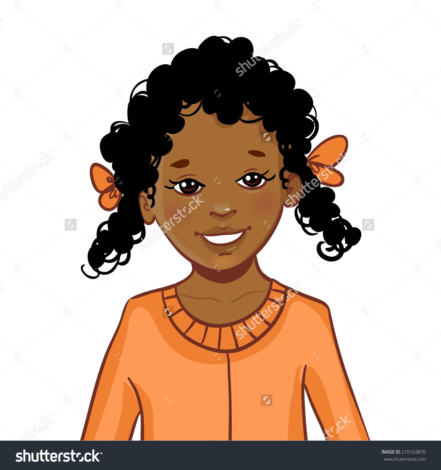 Teenager Cartoon African American Girl Curly Stock Vector.