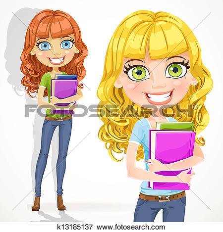 Clip Art of Cute teen girl with wavy hair k13185137.