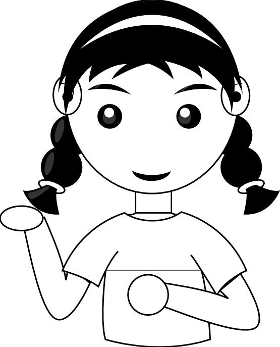 Girl On Phone Black Cute Clipart.