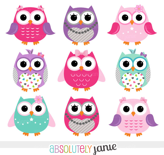 Girly Owl Clipart.