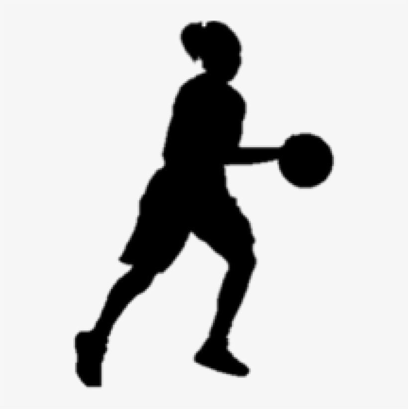 Basketball Girl Silhouette Clipart.