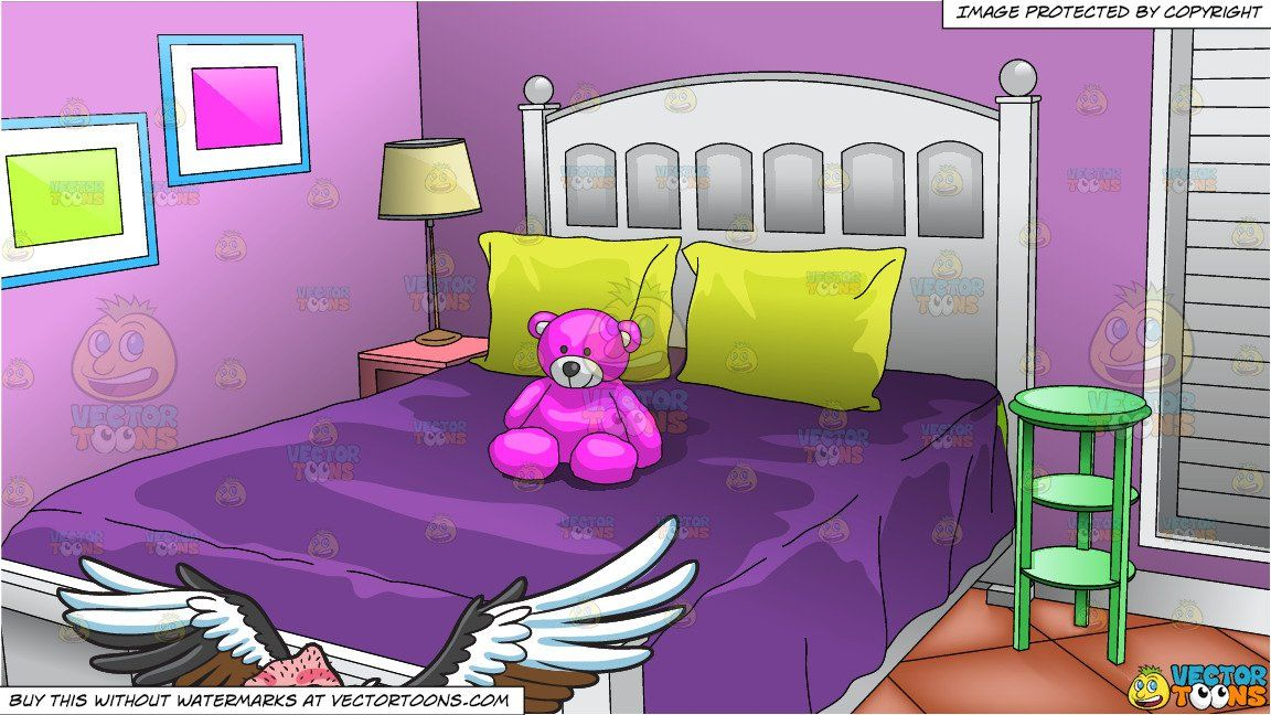 clipart #cartoon A Flying Vulture and Young Girls Bedroom Background.