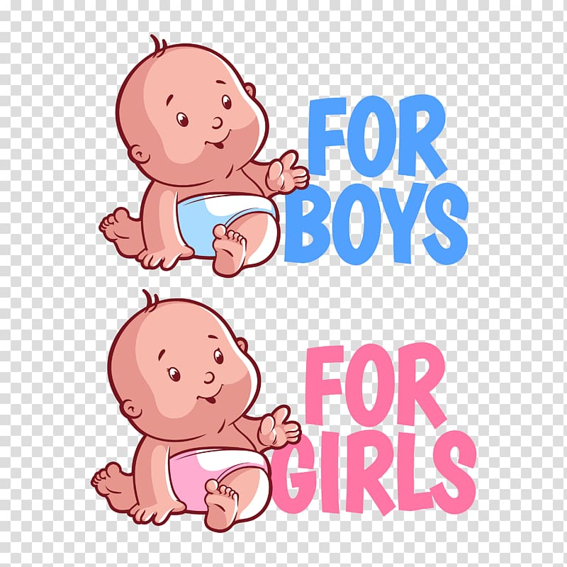 For boys and for girls text, Infant Cartoon Child, baby.