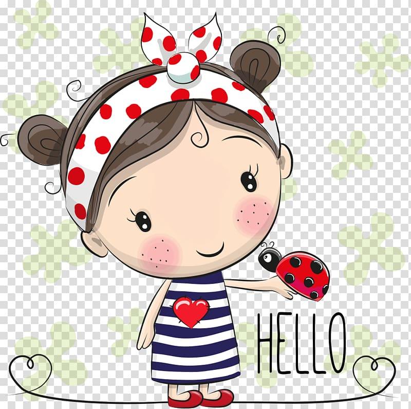 Girl character with hello text overlay, Cartoon , Ladybug.