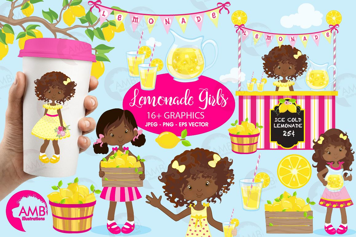 Lemonade Girls cliparts, AA Lemonade Girls cliparts AMB.