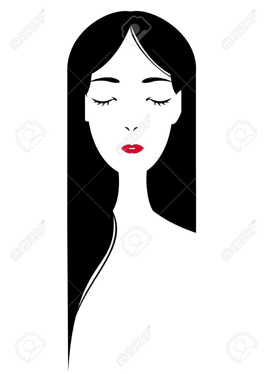 Long Haired Girl Closing Eyes Royalty Free Cliparts, Vectors, And.