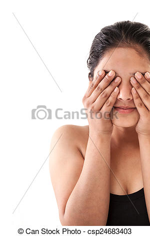 Stock Photography of Indian girl closing eyes with hands.