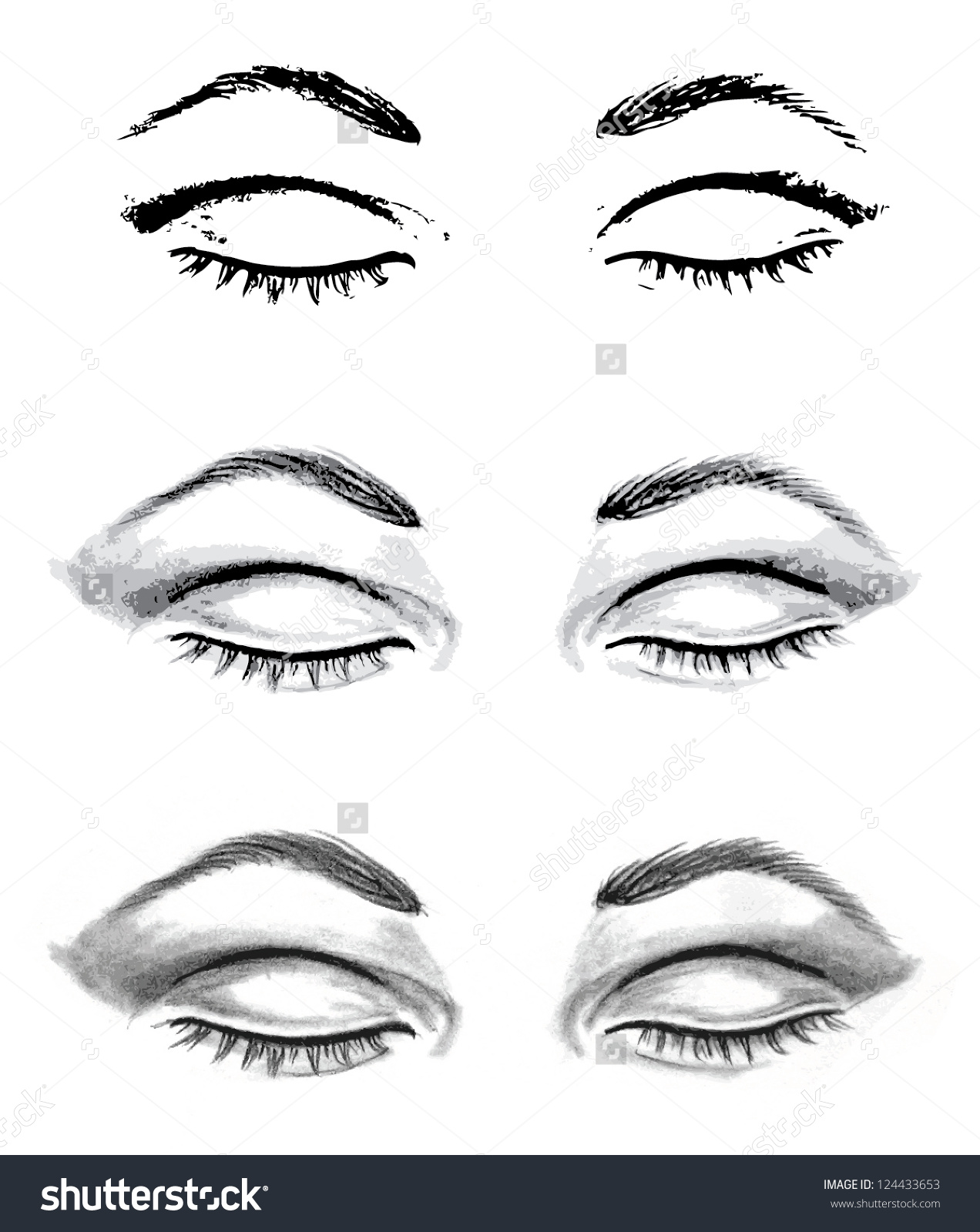Pencil Drawing Closed Eyes Autotraced Realistic Stock Vector.