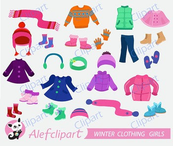 Winter Clothing Clipart Set for girls.