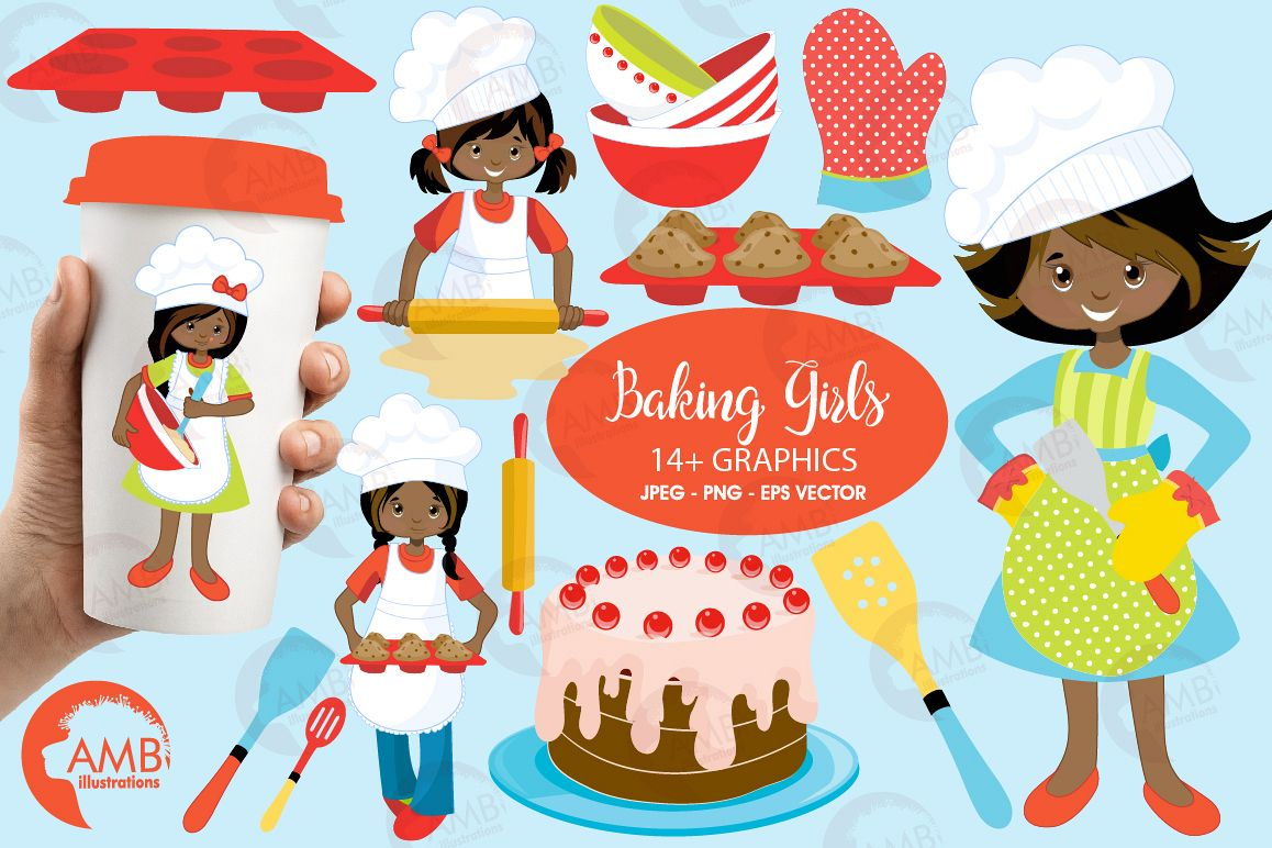 Baking clipart, cooking clipart, Girl chefs clipart, graphics and  illustrations AMB.