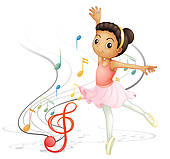 Dancing Little Girl Clipart.