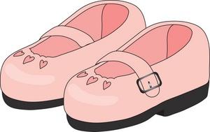 Little Girls Dress Shoes Clipart.