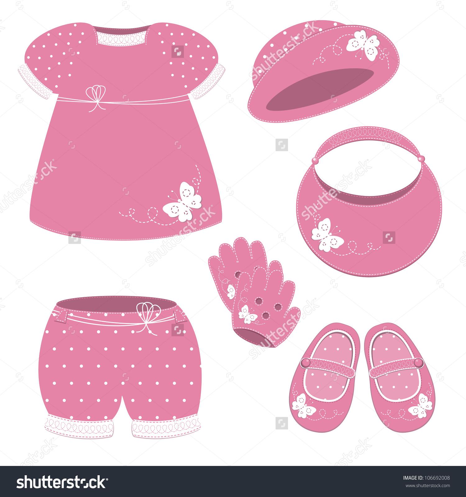 Baby Girl Set Pink Dress Hat Stock Vector 106692008.