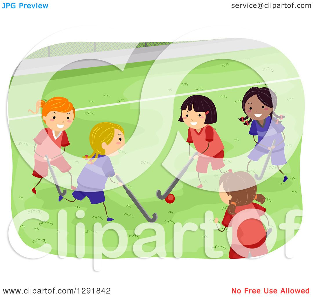 Clipart of a Group of Girls Playing Field Hockey.