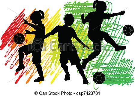 Vector Clip Art of Soccer Silhouettes Kids Boys Girls.