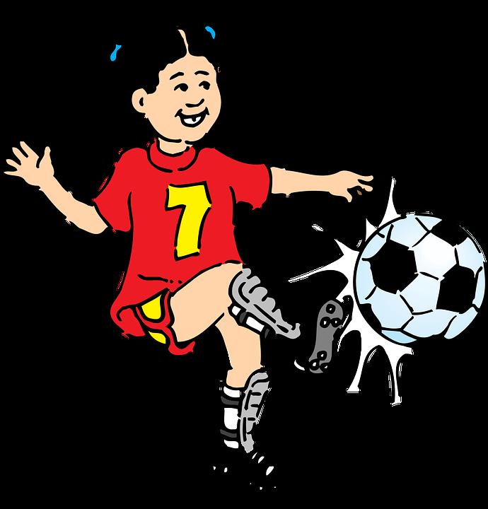 Free vector graphic: Footballer, Girl, Female, Kick.