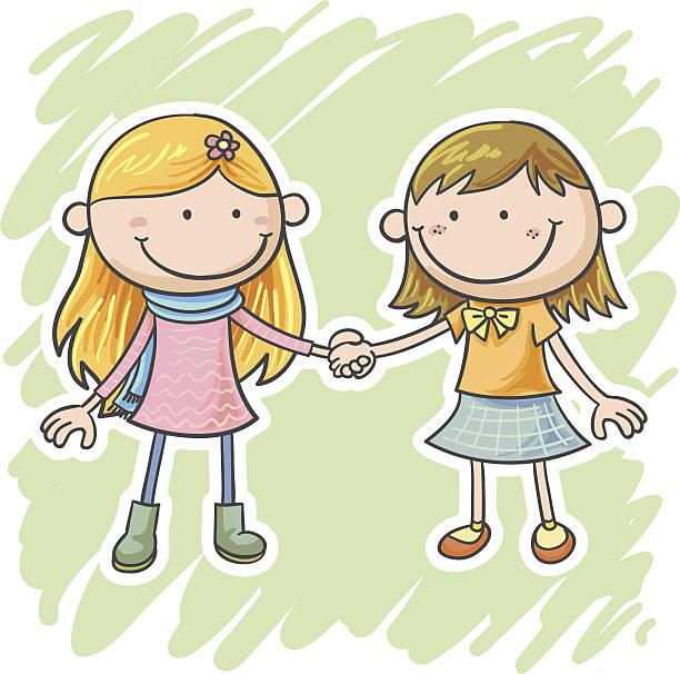 Two little girls are holding hands » Clipart Station.