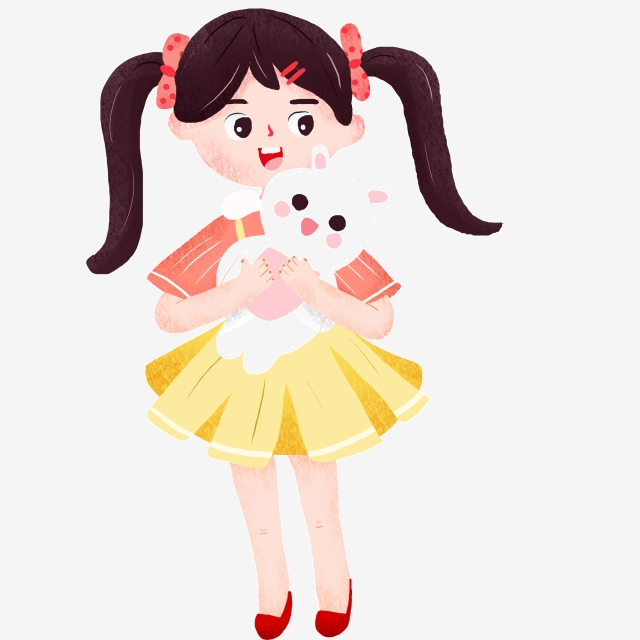 Character Girl Hugging Cat, Little Girl Cat Cute Cartoon Color Small.
