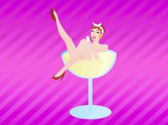 Girl in Champagne Glass.