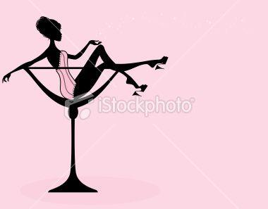 Girls Inside Champagne Glasses Clipart.