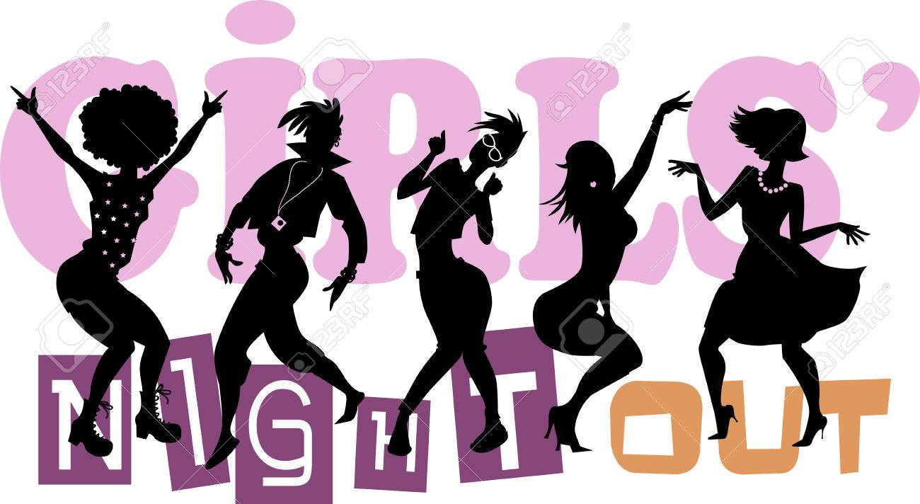 Girls' Night Out, EPS 8 vector illustration with black silhouettes...