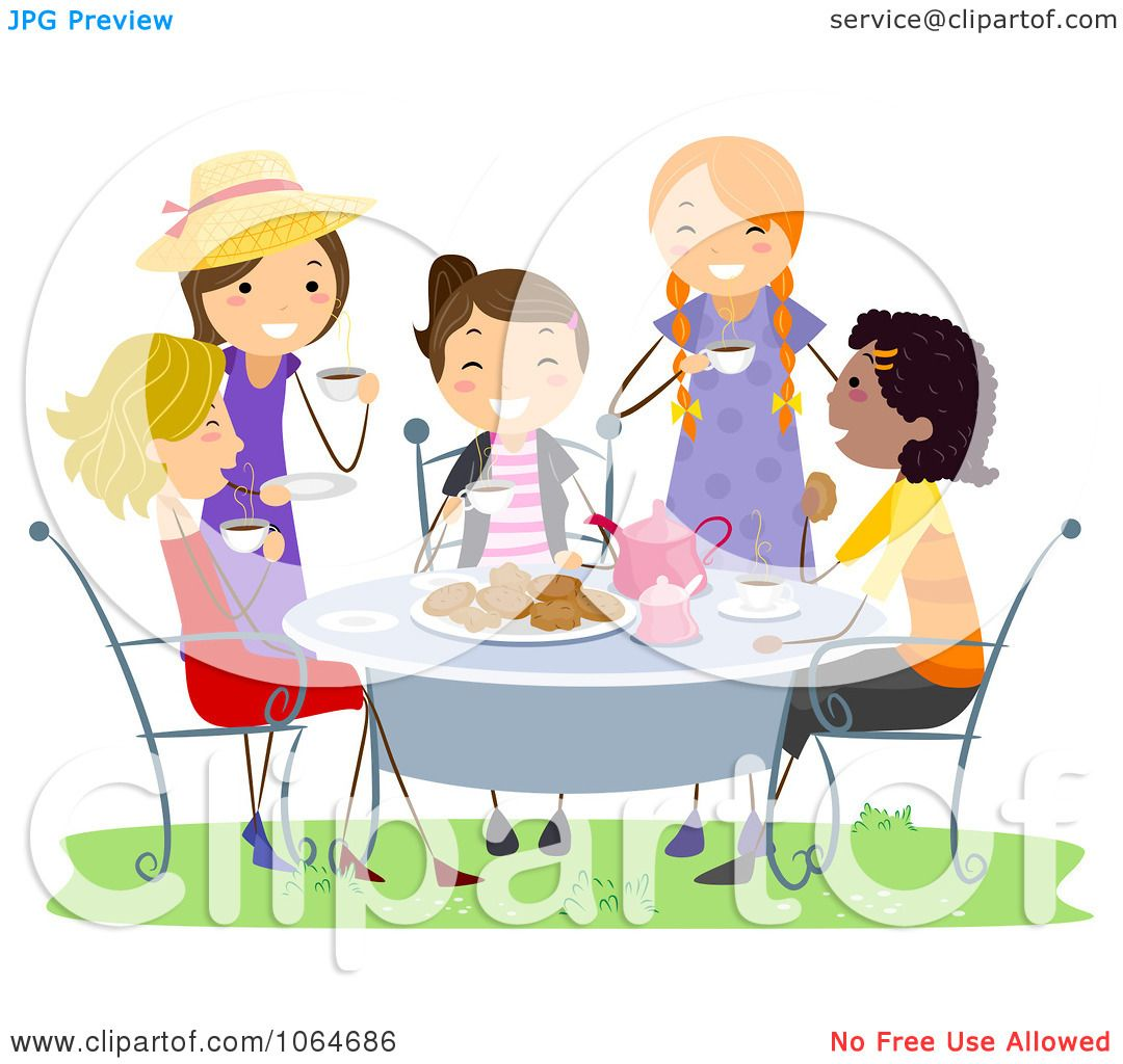 Clipart Girls Having A Tea Party.
