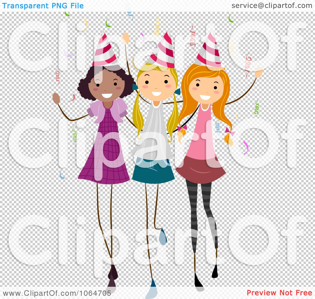 Clipart Three Birthday Party Girls.
