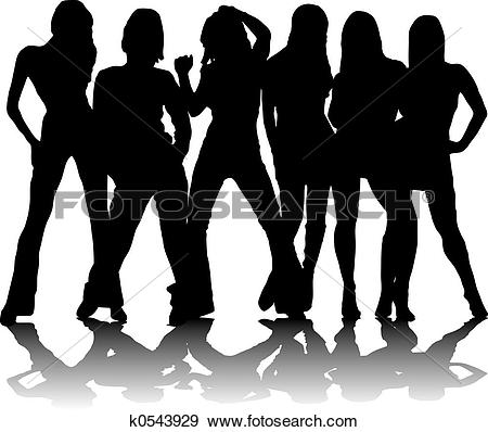 Clipart of three party girls k0543931.