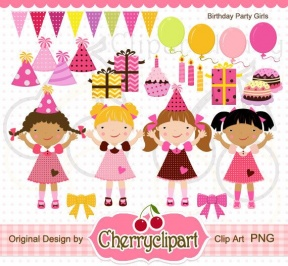 Girls Party Clipart.