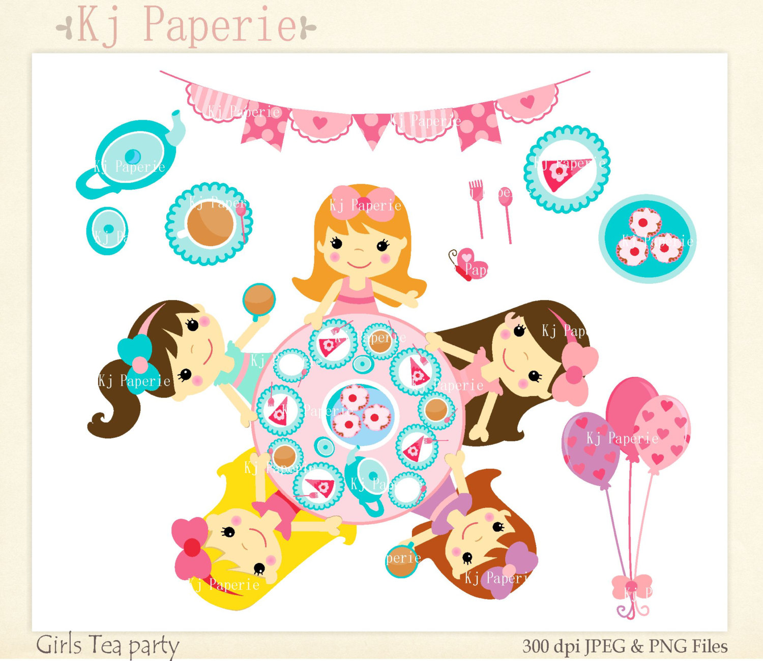Girls Clip Art, Tea party girls 2,Alice in wonderland Clip art.