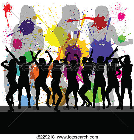 Clipart of girl party vector silhouette illustration k12347213.