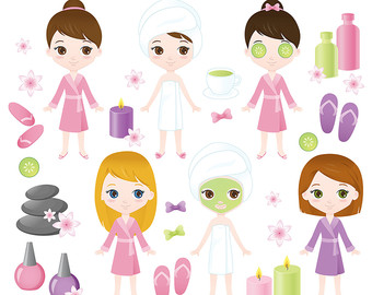 80% OFF SALE Spa girl clipart, Spa party, Spa clipart, Girl.