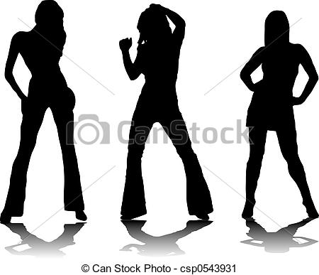 Clipart of three party girls.