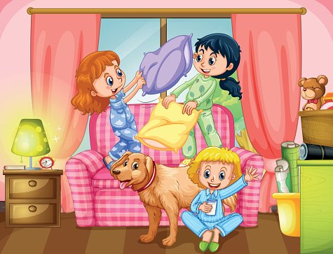 Girls playing pillow fight in living room Clipart Image.