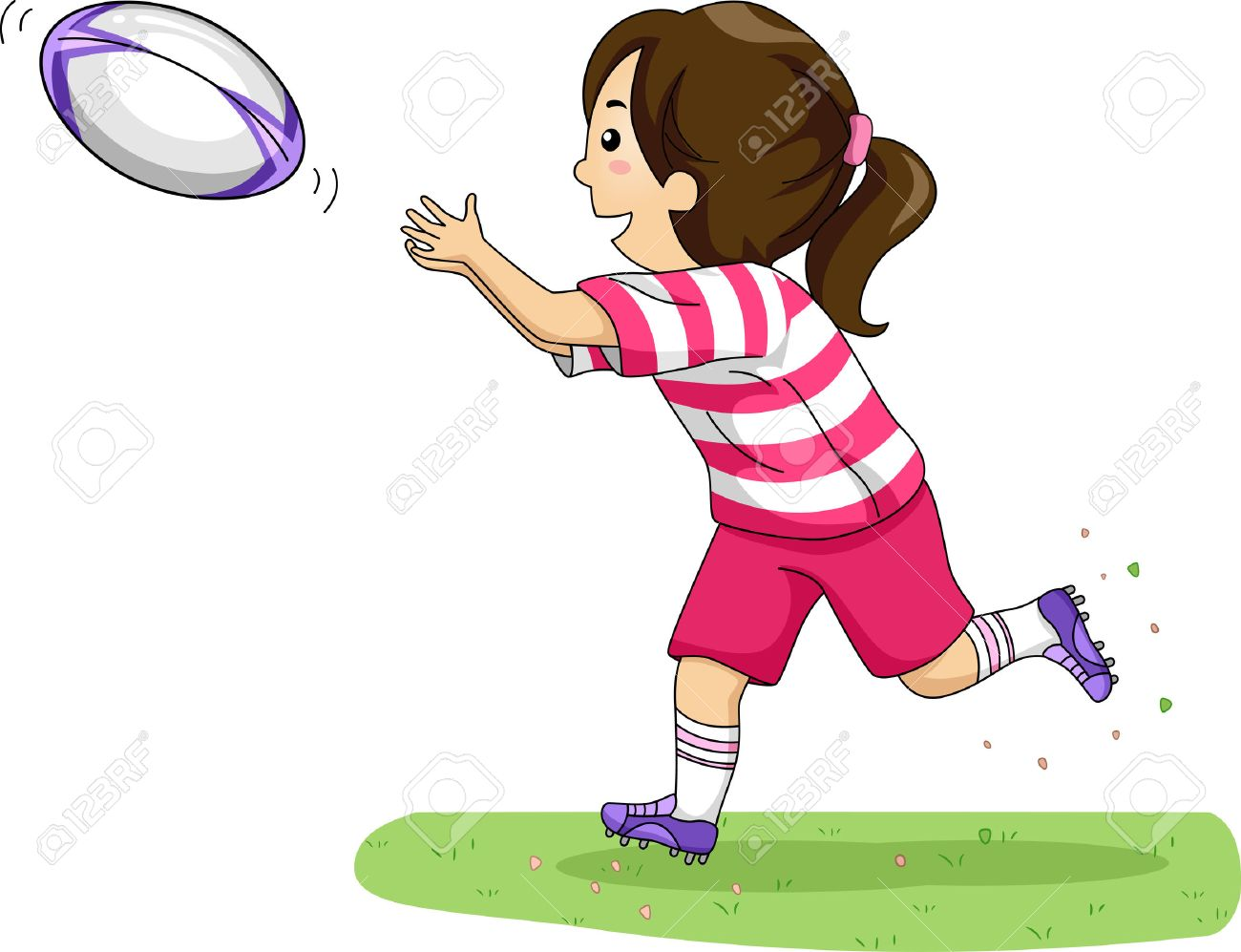 Illustration of a Girl Catching a Rugby Ball.