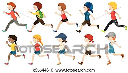 Boys and girls running Clipart.