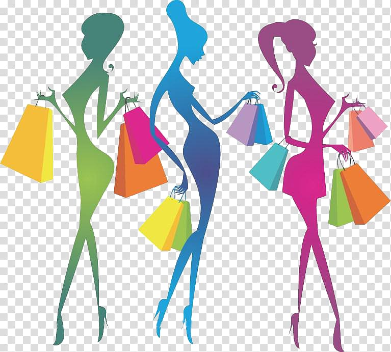 Shopping Girl Illustration, Colorful hand.