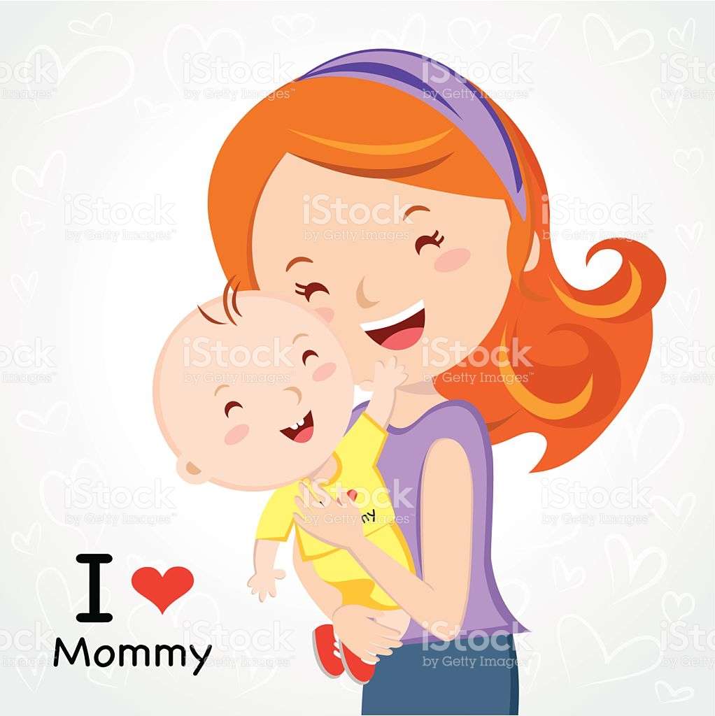 A Cartoon Of A Mother Holding Her Baby And I Love Mommy stock.
